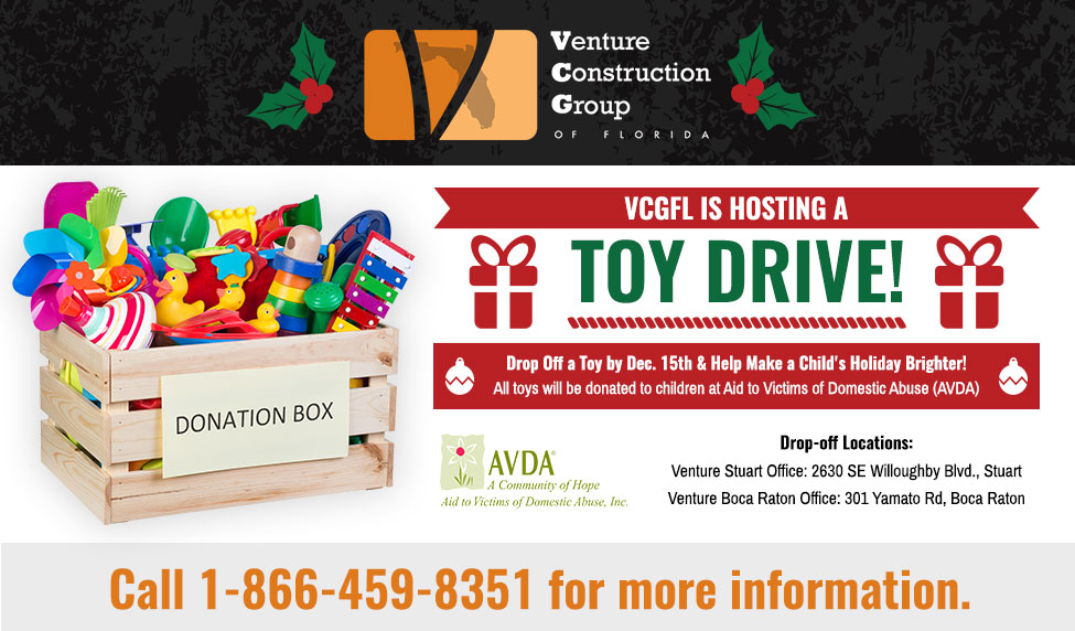 Venture Construction Group of Florida Hosts Holiday Toy Drive